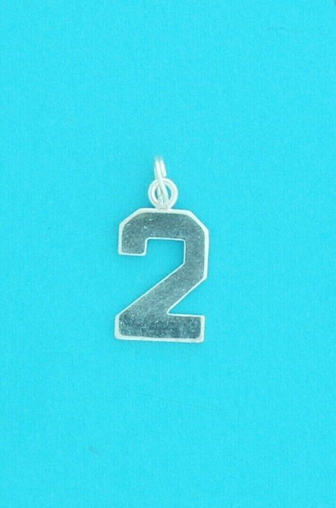 Genuine 925 Sterling Silver 13mm Number Two Charm Pendant